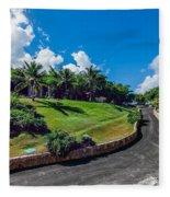 Road In Park Fleece Blanket