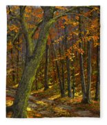Road In The Woods Fleece Blanket