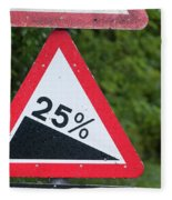 Road Sign Warning Of A 25 Percent Incline. Fleece Blanket
