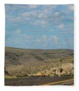 Road Through New Mexico Desert High Noon Fleece Blanket