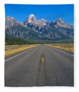 Road To Grand Teton National Park Fleece Blanket
