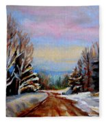 Road To Knowlton Quebec Fleece Blanket