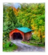 Road To The Covered Bridge Fleece Blanket
