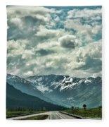 Road Travel Alaska Color  Fleece Blanket
