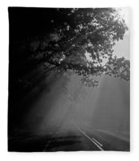 Road With Early Morning Fog Fleece Blanket