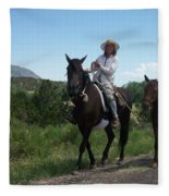 Roadside Horses Fleece Blanket