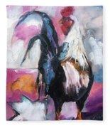 Roanoke Rooster Painting Fleece Blanket