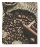 Roasted Coffee Beans In Close-up  Fleece Blanket