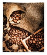 Roasted Coffee Beans In Drawer And Bags On Table Fleece Blanket