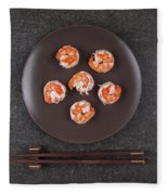 Roasted Shrimps Served On Plate Fleece Blanket