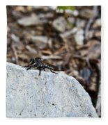 Robber Fly Sitting Fleece Blanket