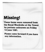 Robbery At The Tower Of London Fleece Blanket