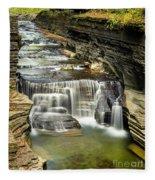 Robert H. Treman State Park Gorge Upper Falls Fleece Blanket