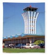 Robert Mueller Municipal Airport And Control Tower, Austin, Texas Fleece Blanket