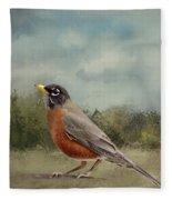 Robin Abstract Background Fleece Blanket