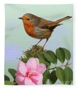 Robin And Camellia Flower Fleece Blanket