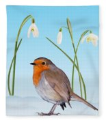 Robin And Cold Snowdrops Fleece Blanket