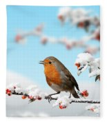Robin And Cotoneaster With Snow Fleece Blanket