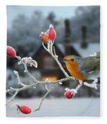 Robin And Rose Hips Fleece Blanket