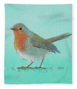 Robin Bird Painting Fleece Blanket