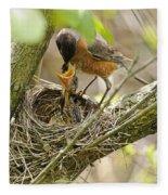 Robin Feeding Young Fleece Blanket