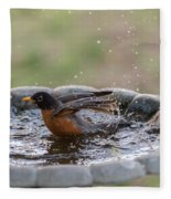 Robin In Bird Bath New Jersey  Fleece Blanket