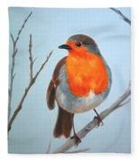 Robin In The Tree Fleece Blanket