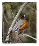Robin In Tree Fleece Blanket