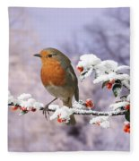 Robin On Cotoneaster With Snow Fleece Blanket