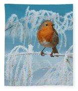 Robin On Frosty Grass Fleece Blanket