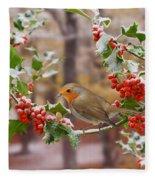 Robin On Holly Twigs Fleece Blanket