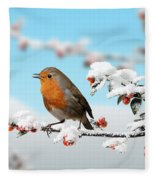 Robin On Snowy Cotoneaster Fleece Blanket