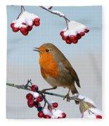 Robin On Winter Cotoneaster Fleece Blanket