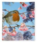 Robin On Winter Flowering Plum Fleece Blanket