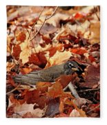 Robin Playing In Fallen Leaves Fleece Blanket