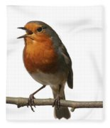 Robin Singing On Branch Fleece Blanket
