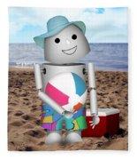 Robo-x9 At The Beach Fleece Blanket