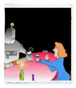 Robot Dining Cartoon Fleece Blanket