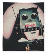 Robotic Mech Under Vintage Spotlight Fleece Blanket