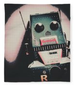Robotic Mech Under Vintage Spotlight Fleece Blanket