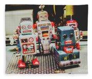 Robots Of Retro Cool Fleece Blanket