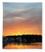 Roche Harbor Sunset Fleece Blanket