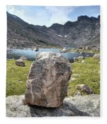 Rock At Abyss Lake Fleece Blanket