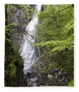 Rock Climbers At Graymare's Tail Falls Fleece Blanket