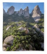 Rock Formations Montserrat Spain Fleece Blanket