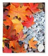 Rock Garden Autumn Leaves Fleece Blanket