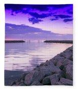 Rock Jetty Sunrise Fleece Blanket