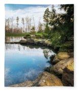 Rock Lined Pond Fleece Blanket