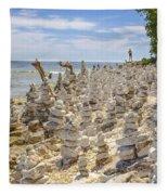 Rock Structures On Lake Michigan Fleece Blanket