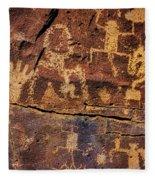 Rock Wall Of Petroglyphs Fleece Blanket